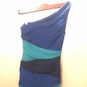 BCBG Maxazria One Shoulder Ruched Colorblock Dress